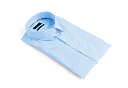 Blue man shirt on white background - New and folded 免版税图像