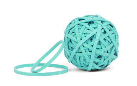 Rubber band ball, isolated on a white background