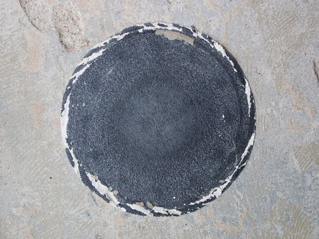 Concrete surface sanding paper, used, sanding paper used for leveling the concrete Stock Photo