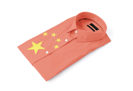 Clothing industry - Made in China - Mans shirt isolated on white