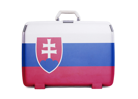 Used plastic suitcase with stains and scratches, printed with flag, Slovakia