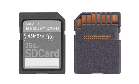 SD Memory card isolated on white background - 256 Gigabyte Stock Photo