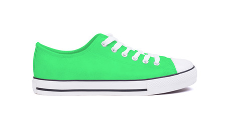 New sneaker shoe, isolated on a white background - Green Stock Photo