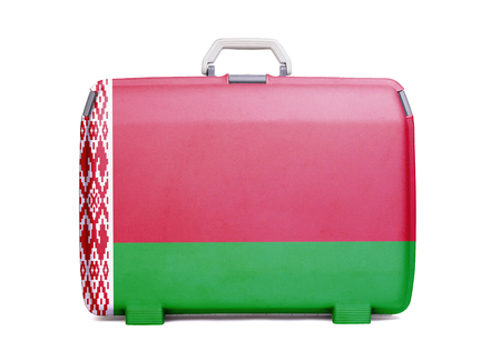 Used plastic suitcase with stains and scratches, printed with flag, Belarus