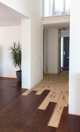 Breaking up a solid wooden floor in a house