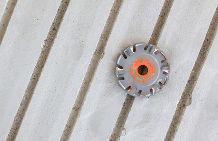 Milling in concrete floor - Preparation for underfloor heating - Disk