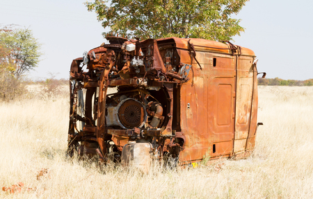 Cabin of a truck, rusted and forgotten - Botswana Stock Photo