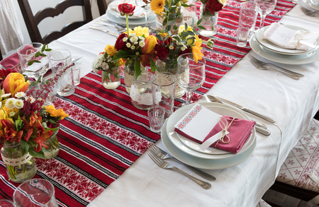 Empty glasses and plate, wedding setting, Romania Stock Photo