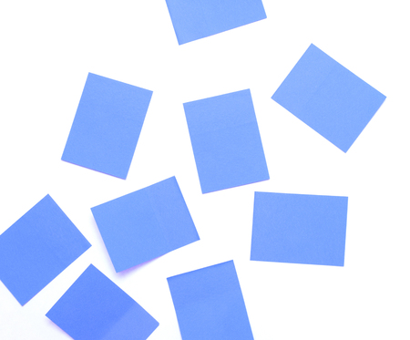 Blue sticky notes isolated on a white background 版權商用圖片