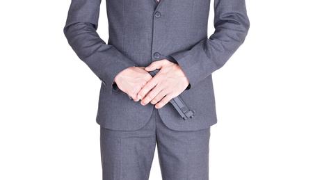 Man in suit with gun, handgun, isolated on white 版權商用圖片