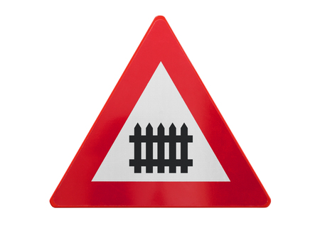 Traffic sign isolated - Railroad crossing - On white