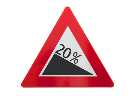 Traffic sign isolated - Grade, slope 20% - On white
