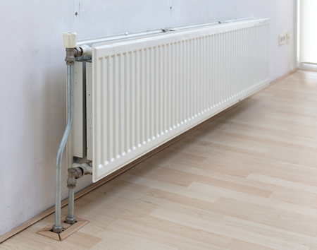 Heating radiator in a dutch home, selective focus Stok Fotoğraf
