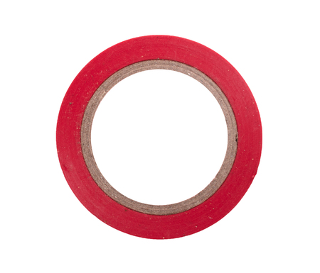 Insulating tape red, isolated on a white background 免版税图像