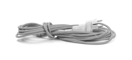 Grey extension cord isolated on white background
