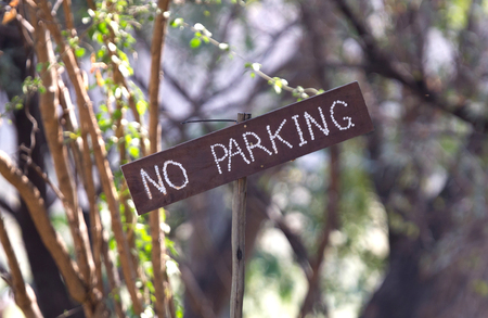 No parking sign on a campsite in Botswana