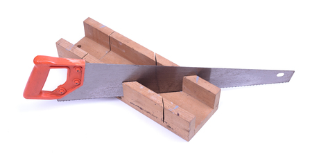 Miter box with a saw, isolated on a white background Stock Photo