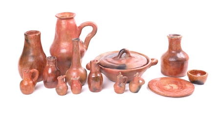 Old ceramic collection, small, isolated on white background