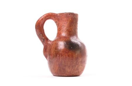 Ceramic old vase, small, isolated on white background Banco de Imagens