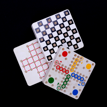Vintage games, isolated on a black background