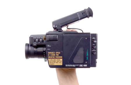 Analogue camcorder, isolated on a white background Stock Photo