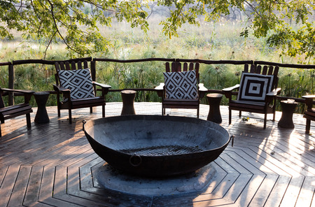 Nice terrace in Namibia, seats and a fireplace Banco de Imagens