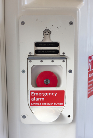 Emergency alarm button, London metro, push the button Banco de Imagens - 119719120