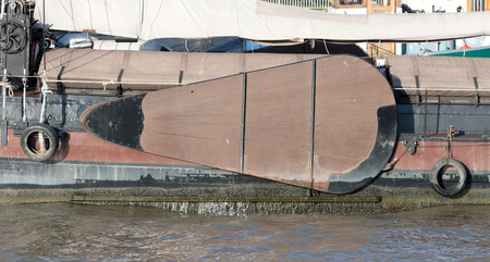 Large side sword at the side of an old dutch ship