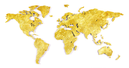 Roughly outlined world map on a kitchen wall - Shiny gold Banco de Imagens