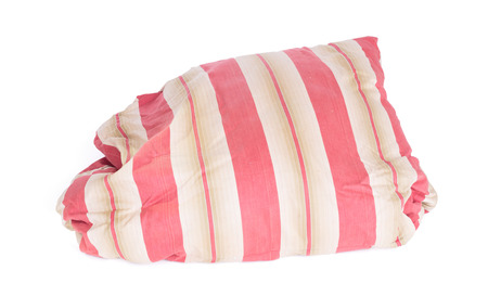 Old and dirty pillow isolated on white background