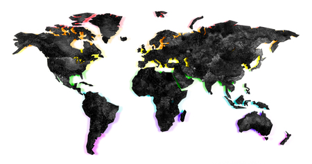Roughly outlined world map on a kitchen wall - XXX Stock Photo