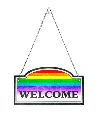 Be welcome! Old metal sign isolated on white - Rainbow Flag