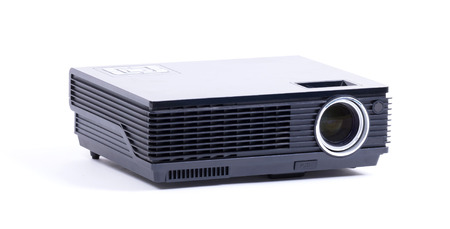 Black home cinema projector, isolated on white background