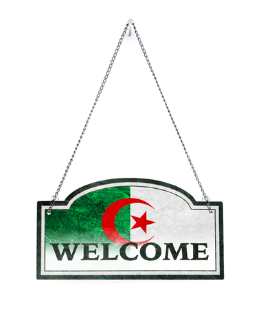 Algeria welcomes you! Old metal sign isolated on white 免版税图像