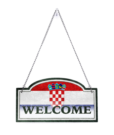 Croatia welcomes you! Old metal sign isolated on white