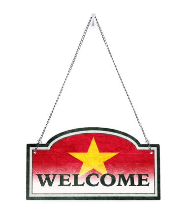 Vietnam welcomes you! Old metal sign isolated on white Banco de Imagens