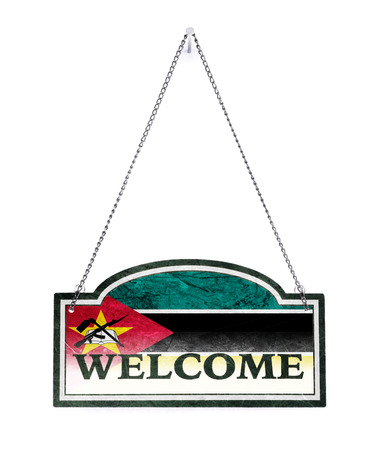 Mozambique welcomes you! Old metal sign isolated on white Banco de Imagens