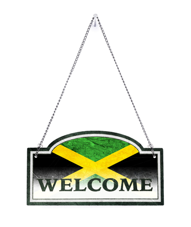 Jamaica welcomes you! Old metal sign isolated on white