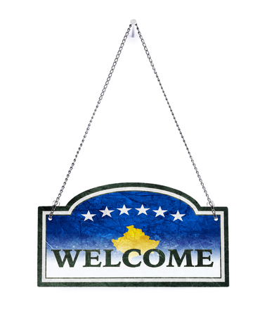 Kosovo welcomes you! Old metal sign isolated on white