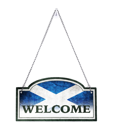 Scotland welcomes you! Old metal sign isolated on white Banco de Imagens