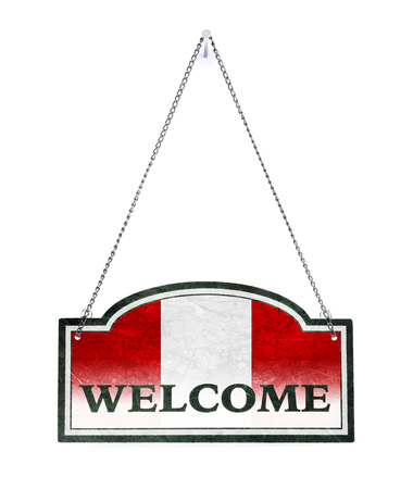Peru welcomes you! Old metal sign isolated on white