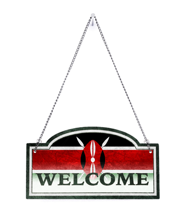 Kenya welcomes you! Old metal sign isolated on white