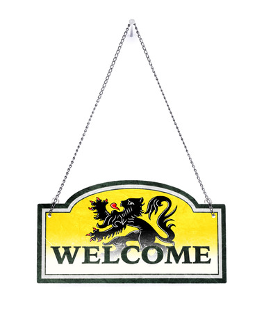 Flanders welcomes you! Old metal sign isolated on white