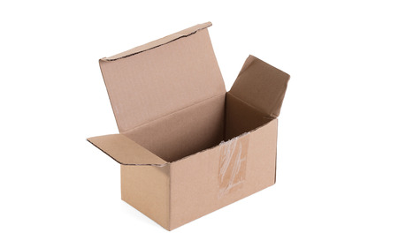 Cardboard box with flip open lid, lid open, isolated on white Фото со стока