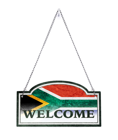 South Africa welcomes you! Old metal sign isolated on white