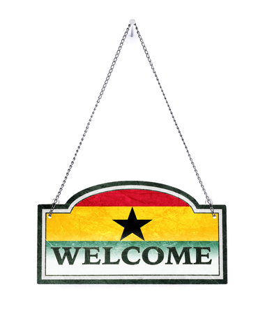 Ghana welcomes you! Old metal sign isolated on white