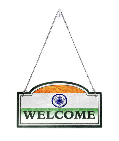 India welcomes you! Old metal sign isolated on white