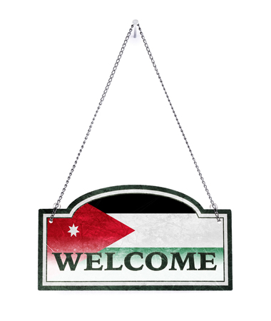 Western Sahara welcomes you! Old metal sign isolated on white