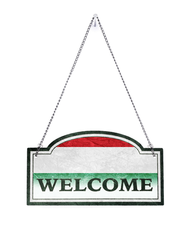 Hungary welcomes you! Old metal sign isolated on white Banco de Imagens