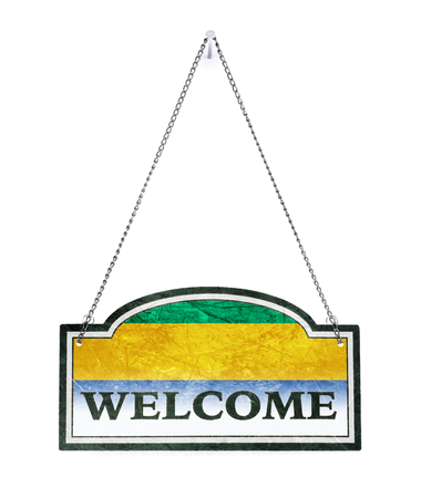 Gabon welcomes you! Old metal sign isolated on white